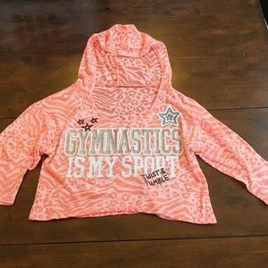 "Justice ""Gymnastics"" cropped hooded shirt Pink"